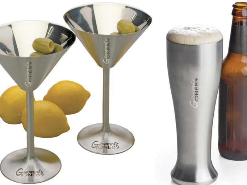 Laser Engraved Stainless Steel Martini Glasses & Pilsner Glasses for Giovanni's One89