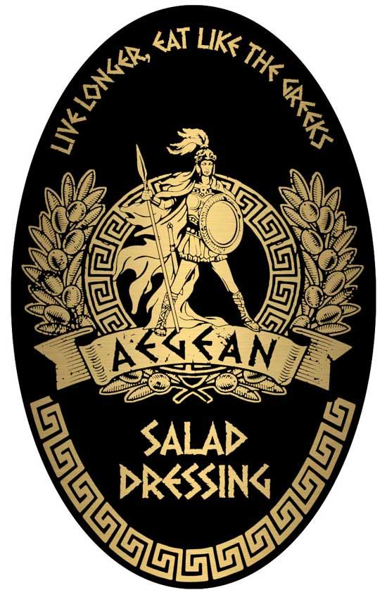 Aegean Restaurant Salad Dressing Label Design