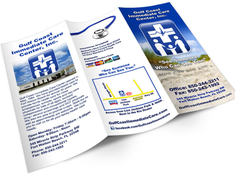 Brochure Design for Medical Clinic - Gulf Coast Immediate Care | Fort Walton Beach, FL
