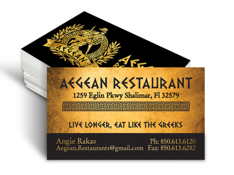 Agean Restaurant Business Card Design
