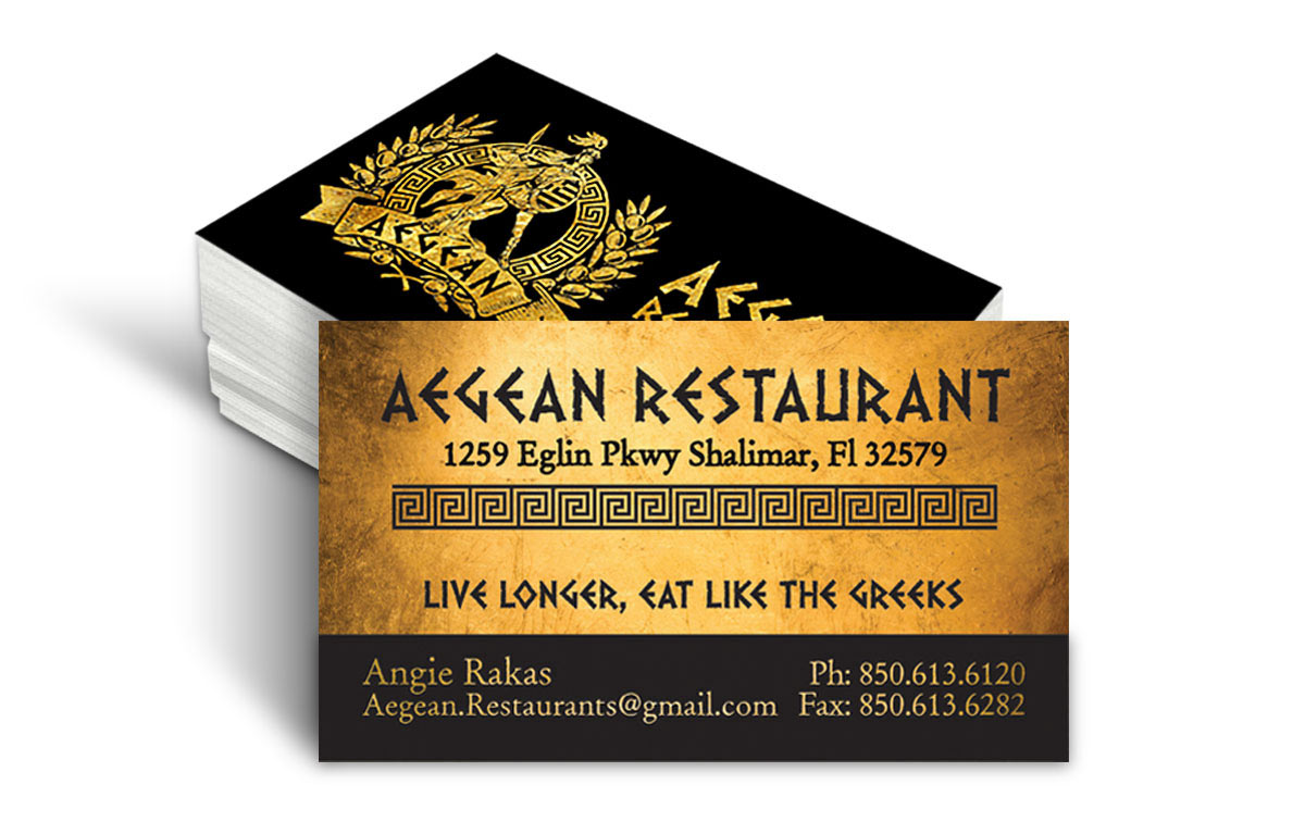 agean restaurant business card design - Restaurant Business Card