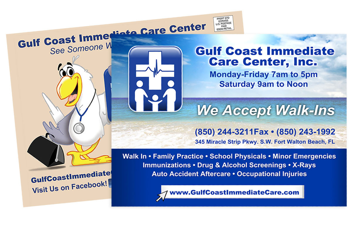 Gulf Coast Immediate Care Postcards for EDDM