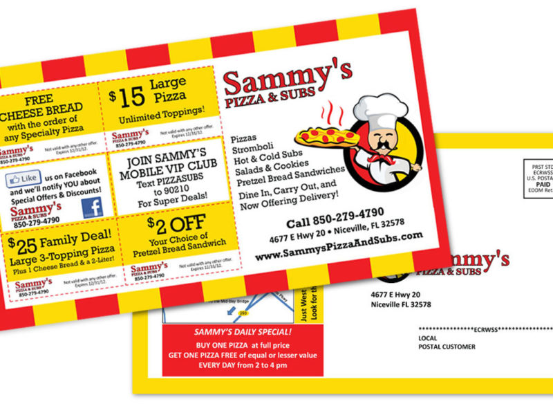 Sammy's Pizza EDDM Postcard Design