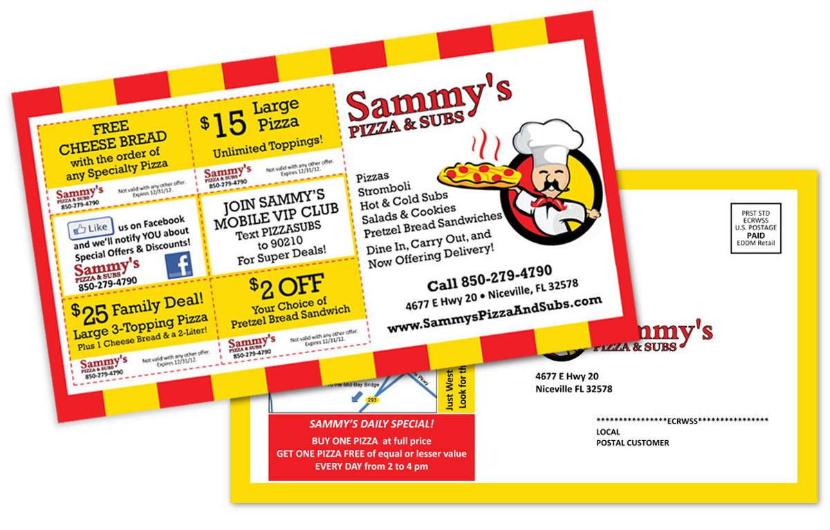 Sammy's Pizza EDDM Postcard Design