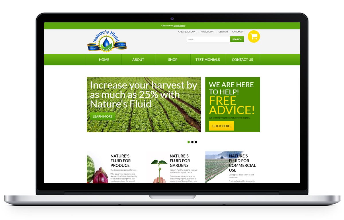 Web Design for Nature's Fluid Plant Food