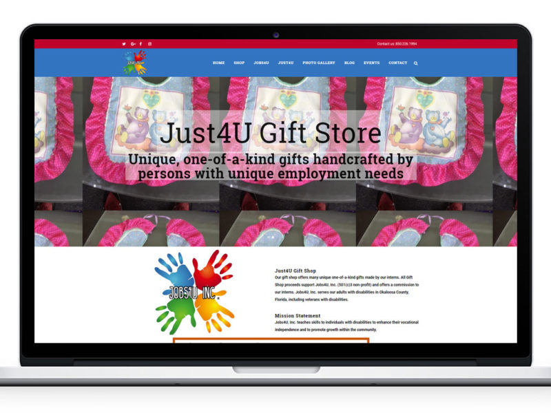 Jobs4U Website Design - Just4U Gift Store