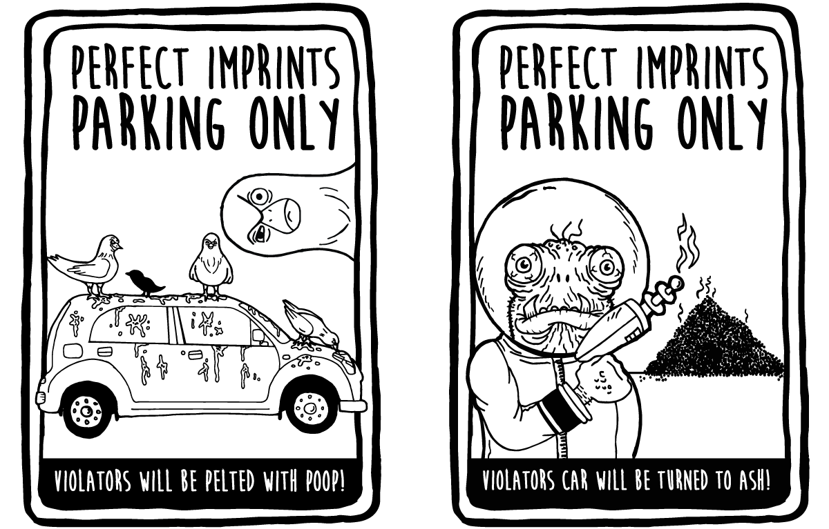 Fun Parking Signs for Perfect Imprints - Angry Birds and Alien