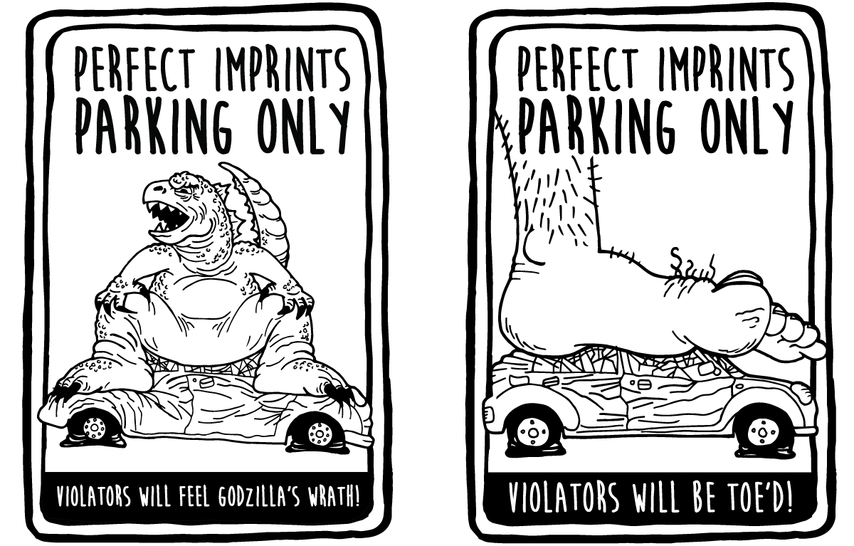 Fun Parking Signs for Perfect Imprints - Godzilla and Toe Sign