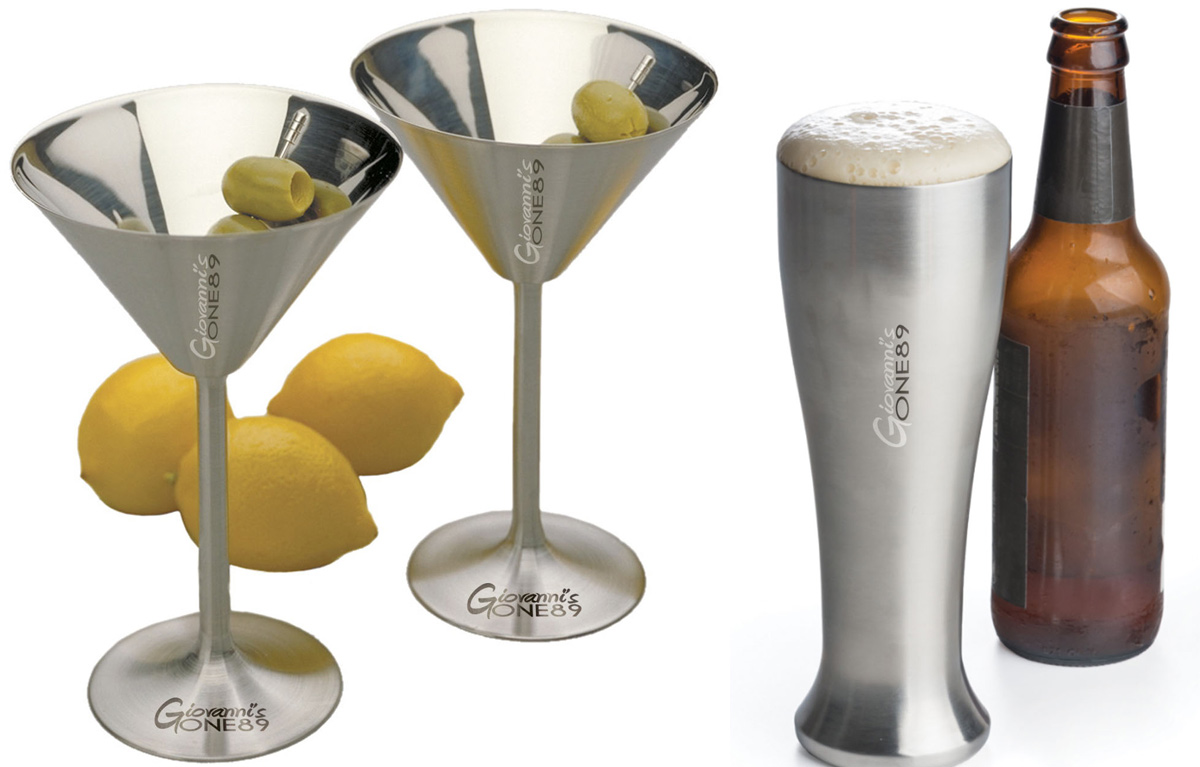 Laser Engraved Stainless Steel Martini Glasses & Pilsner Glasses for Giovanni's One89